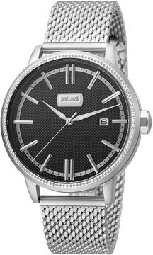 Just Cavalli 42mm Men's Relaxed Patch Watch w/ Bracelet, Black/Steel