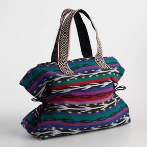 World Market Large Multicolor Jacquard Stripe Tote