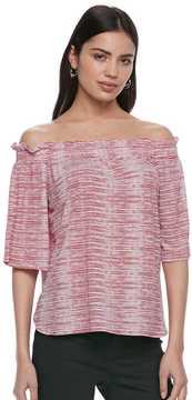 Elle Women's ElleTM Striped Off-the-Shoulder Ruffle Top