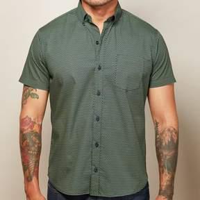 Blade + Blue Navy with Green X Print Short Sleeve Shirt - XANDER