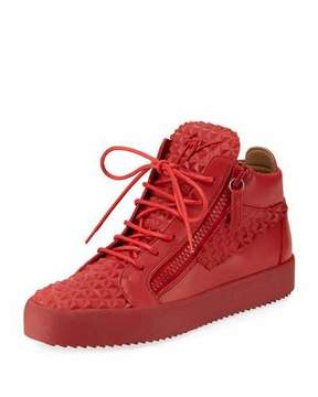 Giuseppe Zanotti Men's Pyramid Leather Mid-Top Sneakers