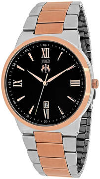 Jivago Clarity Mens Black Dial and Rose-Tone Bracelet Watch