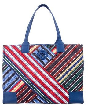 Tory Burch Ella Quilted Stripe Tote w/ Tags - BLUE - STYLE