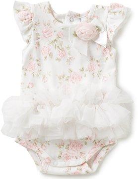 Edgehill Collection Baby Girls Newborn-6 Months Floral-Print Ruffle Bodysuit