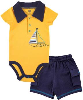 Hudson Baby Yellow Sailboat Bodysuit & Cargo Shorts - Newborn & Infant