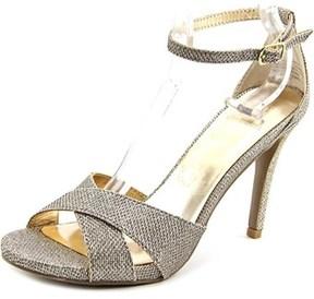 Material Girl Saracha Women Peep-toe Canvas Gold Heels.