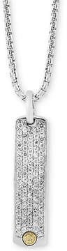 Effy Men's White Sapphire Dog Tag Pendant Necklace (2 ct. t.w.) in Sterling Silver & 18k Gold