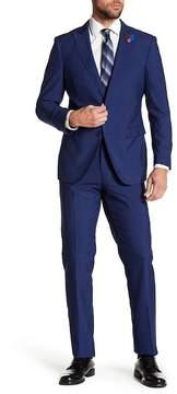 English Laundry Navy Gingham Two Button Peak Lapel Trim Fit Suit