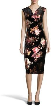 ECI Women's Floral Velvet Sheath Dress