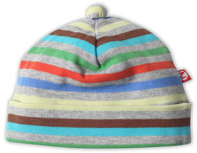 Zutano Gray & Blue Stellar Stripe Beanie - Infant