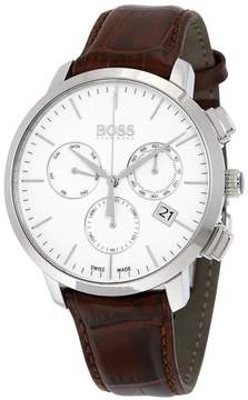 HUGO BOSS Chronograph Stainless Steel Mens Watch White Dial Date Day-of-Week 1513263