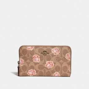 Coach Medium Zip Around Wallet In Signature Rose Print