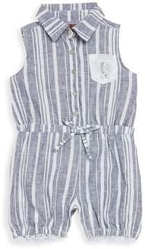 7 For All Mankind Baby Girl's Collared Romper - Indigo Stripe, Size 0-3 mo