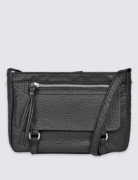 Faux Leather Washed Across Body Bag