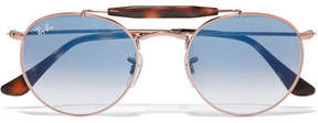 Ray-Ban Round-frame Rose Gold-tone And Acetate Sunglasses