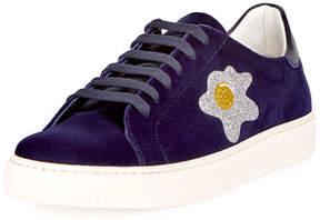 Anya Hindmarch Velvet Glitter Egg Sneaker, Indigo
