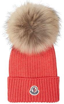 Moncler Fur Pom Pom Beanie Hat