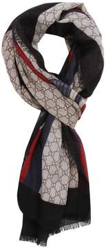 Gucci Scarf 70 X 200 Cm Scarf In Pure Wool With Web And Snake Print