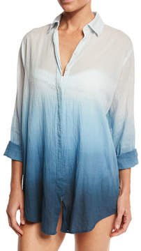 Letarte Midnight Waves Ombre Button-Down Coverup