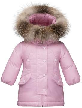 Moncler 'Arrious' Water Resistant Hooded Down Coat with Genuine Fox Fur Trim (Baby Girls)