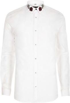 River Island Mens White embroidered collar muscle fit shirt
