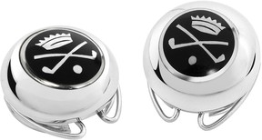 Forzieri Golf and Crown Silver Plated Button Covers