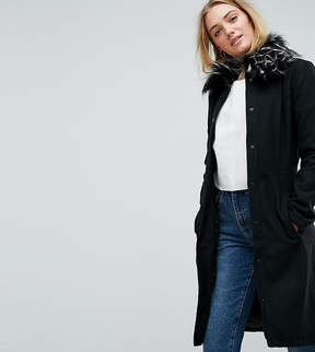Brave Soul Tall Davina Coat With Faux Fur Collar