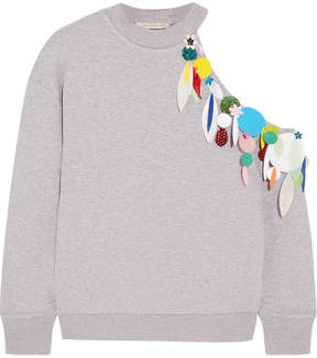 Christopher Kane Cold-shoulder Embellished Cotton-jersey Sweatshirt - Gray