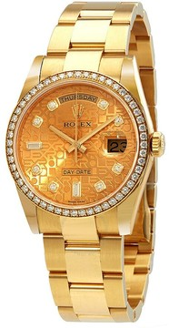 Rolex Day-Date 36 Champagne Jubilee Dial Automatic Diamond Ladies 18kt Yellow Gold Oyster Watch