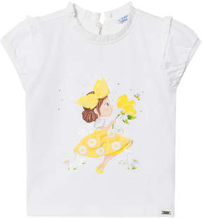 Mayoral White and Yellow Girl Print and Tulle Skirt Tee