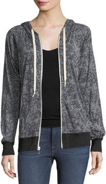 Allen Allen Lace-Print Hooded Jacket