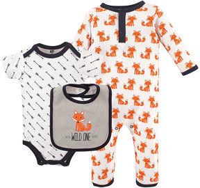 Hudson Baby White & Orange Fox Playsuit Set - Infant