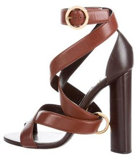 Tom Ford Leather Crossover Sandals
