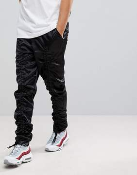 Asos Extreme Drop Crotch Pants In Nylon With Bungee Cord