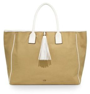 Melissa Odabash Leather-Trim Canvas Tote
