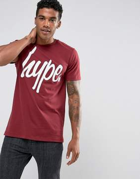 Hype T-Shirt In Burgundy With Script Logo