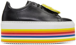 Joshua Sanders Black Smile Rainbow Platform Sneakers