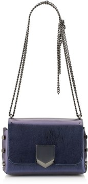 Jimmy Choo LOCKETT PETITE Navy Etched Spazzolato Leather Shoulder Bag