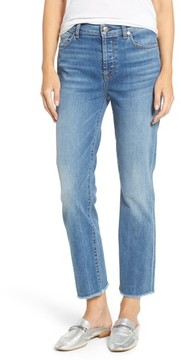 7 For All Mankind Women's Edie High Waist Crop Straight Leg Jeans