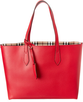 Burberry Medium Reversible Haymarket House Check & Leather Tote - RED - STYLE