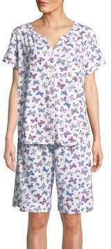Karen Neuburger Two-Piece Butterfly-Print Cotton Pajama Set