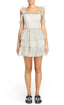 Christopher Kane Check Print Off the Shoulder Silk Mini Dress