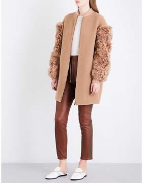 Drome Ladies Capucine Exposed Zip Shearling-Sleeve Wool-Blend Coat