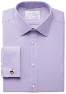 Charles Tyrwhitt Slim Fit Egyptian Cotton Cavalry Twill Lilac Dress Shirt French Cuff Size 15.5/35