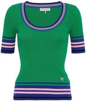 Emilio Pucci Color-Block Cotton Ribbed-Knit Top