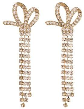 Jenny Packham Pave Crystal Chain Fringe Bow Drop Earrings