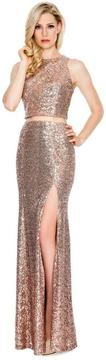Cachet Jewel Neckline Sequined Long Dress 58088