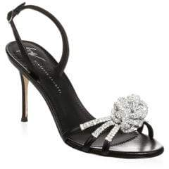 Giuseppe Zanotti Mistico Crystal Embellished Leather Slingbacks