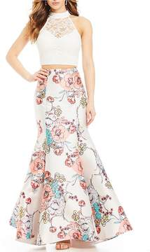 B. Darlin Lace Top with Floral Trumpet Skirt Two-Piece Dress