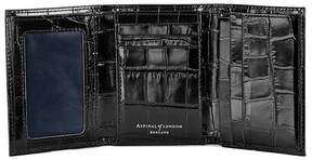 Aspinal of London Trifold Wallet In Deep Shine Black Croc